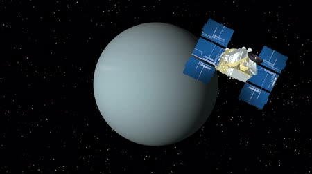 yörünge : 3D animation of satellite approaching planet Uranus and orbiting.