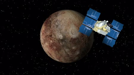 planety : 3D animation of satellite approaching planet Pluto and orbiting.