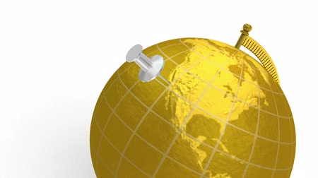 planety : 3D animation of gold globe, which spins, and silver push pin lands on Los Angeles, California, USA. White background.