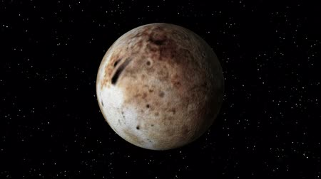atmosphere : 3D animation of planet Pluto rotating in a seamless loop.