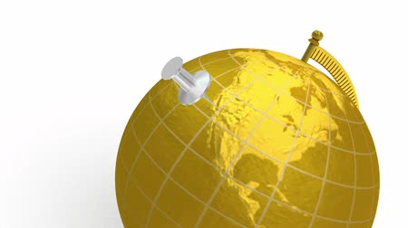 mapa do mundo : 3D animation of gold globe, which spins, and silver push pin lands on Las Vegas, Nevada, USA. White background.