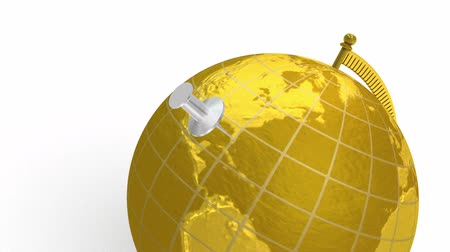 mapa do mundo : 3D animation of gold globe, which spins, and silver push pin lands on Miami, Florida, USA. White background.