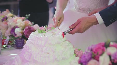 tort weselny : newlyweds at the wedding are cutting a festive big cake Wideo
