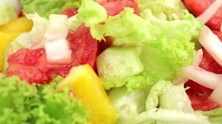 salad : Spinning plate with fresh vegetable salad Stock Footage