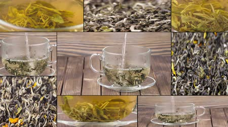 herbata : Tea being poured into glass tea cup, Green tea leaves close up rotation, collage. Multiscreen.