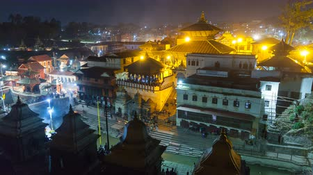 pyre : Cremation in Pashupatinath Kathmandu. The Hindu ritual of cremation in Pashupatinath Temple at night, Nepal Stock Footage