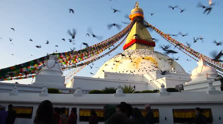 prayer flag : KATHMANDU, NEPAL - NOV 23, 2017: Symbol of Nepal, Buddhas Eyes (stupa Boudhanath) in Kathmandu Stock Footage