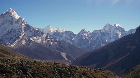 icefall : Panoramic view of Ama Dablam (6,170m) and Khumbu Valley Stock Footage