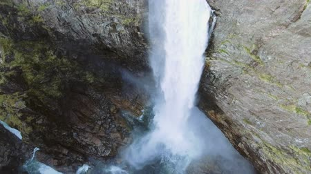 north stream : Video of Manafossen waterfall in Norway. Aerial shot. Top view.