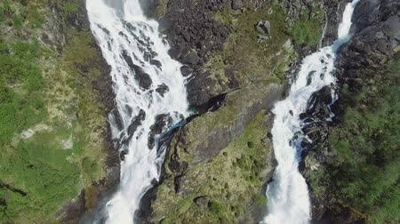 dvojčata : Latefossen - rapid waterfall in Norway. Aerial view, summer time.. Latefoss is a powerful, twin waterfall, famous sightseeing