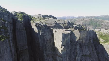 plateau : Video of Preikestolen, Pulpit Rock at Lysefjord in Norway. Aerial view.