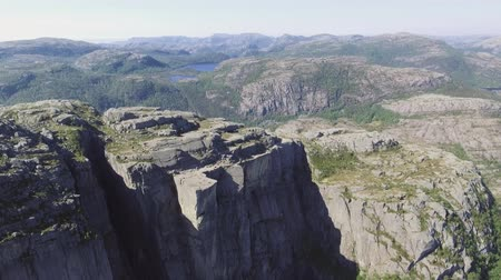 pulpit rock : Video of Preikestolen, Pulpit Rock at Lysefjord in Norway. Aerial view.