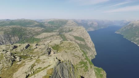 cesaret : Pulpit Rock at Lysefjorden in Norway. The most famous tourist attraction in Ryfylke, towers an impressive 604 metres over the Lysefjord. Aerial view.