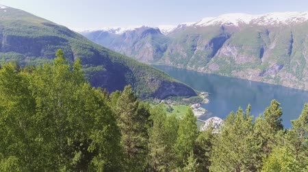 rozhledna : Stegastein Lookout Beautiful Nature Norway aerial view. Sognefjord or Sognefjorden