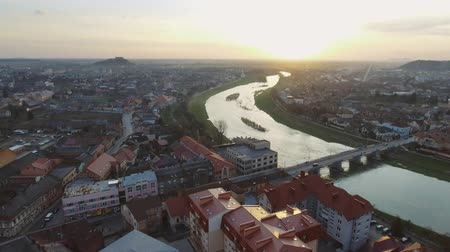 Питер : Aerial footage of Mukachevo city center - top view at sunset time