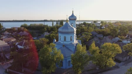 sazlık : Aerial footage of Vilkovo city center - top view of church in summer, Odessa region, Ukraine Stok Video