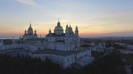 монастырь : Aerial view of Holy Dormition Pochayiv Lavra, an Orthodox monastery in Ternopil Oblast of Ukraine. Eastern Europe
