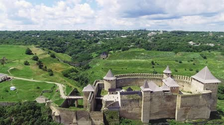 fortificação : Aerial Shot. Old castle near the RIver. Hotin Castle in Ukraine. Eastern Europe
