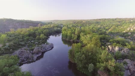 shores : The Southern Bug River. Picturesque rocks and river rapids. Stock Footage