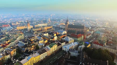 sukiennice : Aerial view of Krakow historic market square, Poland, central Europe at morning.