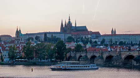 charles bridge : Charles Bridge over the River Vitava, Czech Republic at sunset , timelapse. day to night.