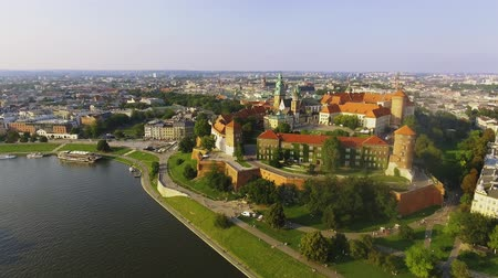 wawel : Krakow, Poland. Wawel royal Castle and Cathedral, Vistula River. Aerial Stock Footage