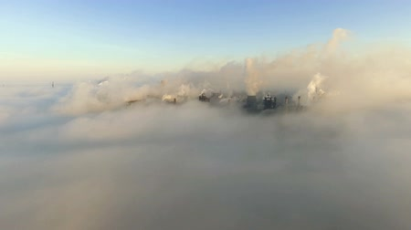 emissions : Aerial view. Industry Pipes Pollute the Atmosphere With Smoke