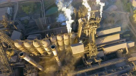 emissions : Aerial view over industrialized city. pollution from metallurgical plant.