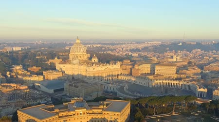 Aerial view of Rome skyline cityscape with Vatican City in Italy