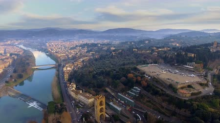 Aerial view of Florence, Italy at sunset. Стоковые видеозаписи