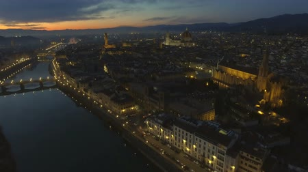 toscana : Aerial view of illuminated Florence, Italy at sunset. Cathedral Santa Maria