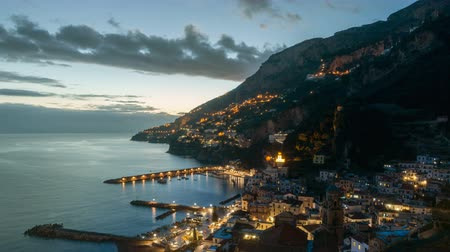 amalfi : Night timelapse of Amalfi in Amalfi Coast, Italy