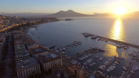 Aerial view of the Gulf of Naples with the Castel dellOvo on, Italy Стоковые видеозаписи