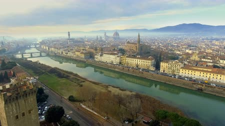 Aerial view of Florence, Italy at sunset. Cathedral Santa Maria