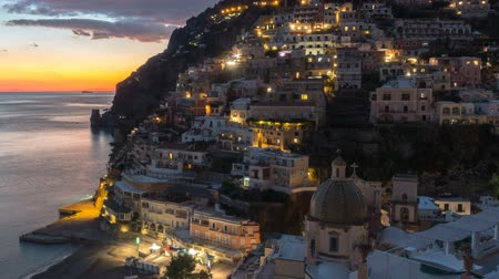 amalfi : Positano, beautiful Mediterranean village on Amalfi Coast. Italy, timelaps