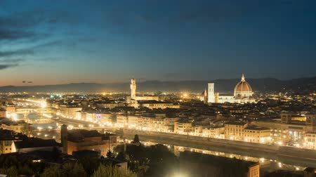 mary : illuminated Florence, Italy, sunset, timelapse