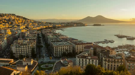 fortresses : Naples skyline, port and Vesuvius volcano view, Italy Stock Footage