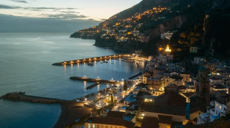 neapol : Night timelapse of Amalfi in Amalfi Coast, Italy