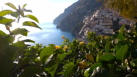 amalfi : Positano, Amalfi Coast, Salerno, Italy at spring time. Stock Footage