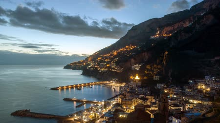 amalfitana : Night timelapse of Amalfi in Amalfi Coast, Italy