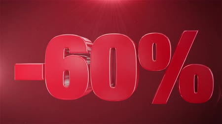 příznivý : 60% Sale Animation Promotions In Red Text Seamlessly loopable Motion Background