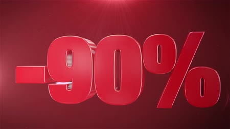 příznivý : 90% Sale Animation Promotions In Red Text Seamlessly loopable Motion Background