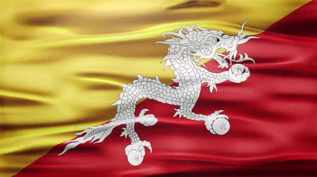 bhutan : Realistic Seamless Loop Flag of Bhutan Waving In The Wind With Highly Detailed Fabric Texture.