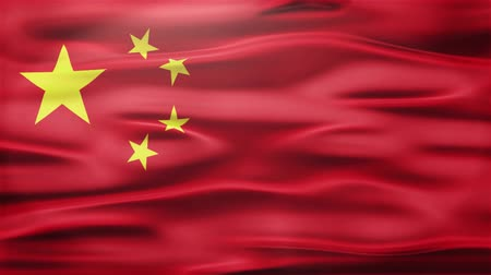 socialist republic : Realistic Seamless Loop Flag of China Waving In The Wind With Highly Detailed Fabric Texture