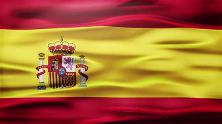 ações : Realistic Seamless Loop Flag of spain Waving In The Wind With Highly Detailed Fabric Texture.