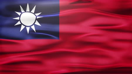 colonial : Realistic Seamless Loop Flag of Taiwan Waving In The Wind With Highly Detailed Fabric Texture.