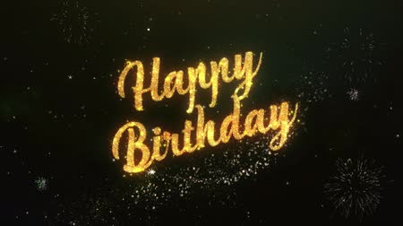 Happy birthday Greeting Text Made from Sparklers Light Dark Night Sky With Colorfull Firework. Dostupné videozáznamy