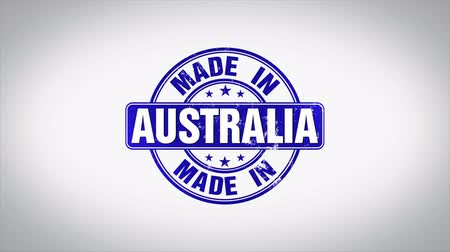 postabélyegző : Made in Australia Word 3D Animated Wooden Stamp Animation
