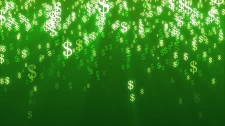 dolar : Animation of multi color Dollar Signs Falling on green background. Wideo
