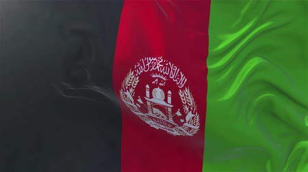 afghani : Afghanistan Flag in Slow Motion Smooth blowing in wind seamless loop Background Stock Footage